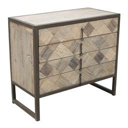 Sale 9216S - Lot 31 - A reclaimed elm chest of four drawers in metal frame, Height 80cm x Width 90cm x Depth 45cm