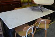 Sale 8115 - Lot 1235 - Marble Top Table on Scrolled Wrought Iron Base