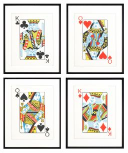 Sale 8308A - Lot 151 - A set of four glicee prints of playing cards representing the four suits, each total size with frame 66 x 54cm