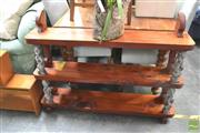 Sale 8406 - Lot 1153 - Hardwood Open Bookshelf with Metal Maori Figures