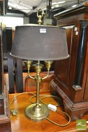 Sale 8444 - Lot 1052 - Brass Bouillotte Style Lamp, with adjustable metal shade & three branches