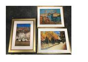 Sale 8674 - Lot 2068 - 3 Framed Prints: Vincent Van Gogh Langlois Bridge at Arles with Women Washing, Orchard with Peach Trees in Blossom & Arthur Boyd...
