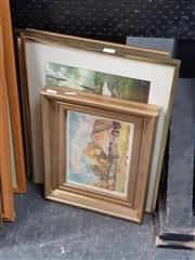 Sale 8682 - Lot 2058 - 4 Watercolours incl Artist Unknown - Autumn Cottage, SLR; Elena Watson - River Scene, SLR & 2 Phyllis Bray - Pastoral Scene & River...
