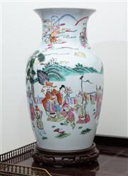 Sale 8815A - Lot 30 - A Chinese famille rose baluster vase on timber stand, of typical decoration H 45cm
