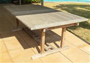 Sale 8908H - Lot 3 - A teak outdoor extension table over stretcher base, made by Ascot Teak. Height 70cm x Length 210 x Width 120cm