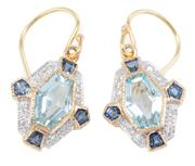 Sale 8965 - Lot 389 - A PAIR OF 9CT GOLD DECO STYLE GEMSET EARRINGS; each centring an elongated hexagonal cut pale blue topaz to surround of round brillia...