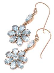 Sale 8974 - Lot 337 - A PAIR OF TOPAZ DAISY CLUSTER EARRINGS; round and pear cut light blue topaz clusters suspended from oval cut topaz on 9ct rose gold...