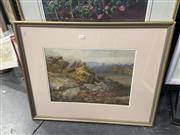 Sale 8995 - Lot 2013 - C E Hern Hunting in the Valley and Distant View of Castle 1884 watercolour and bodycolour, 64 x 81cm (frame) signed/dated lower left