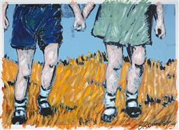 Sale 9150 - Lot 560 - DAVID BROMLEY (1960 - ) - Holding Hands 78 x 102 cm (frame: 87 x 107 x 4 cm)
