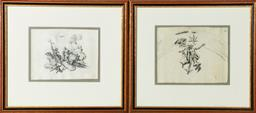 Sale 9211 - Lot 52 - Two C18th sketches of Christ and Mercury (36cm x 32cm)