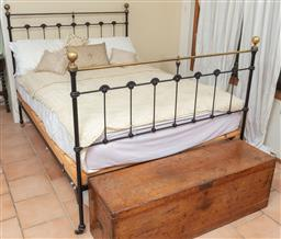 Sale 9120H - Lot 334 - An iron painted double bed frame with mattress and sundry bedding with cushions. Width approx 140cm.