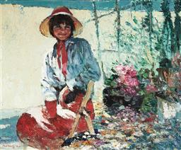 Sale 9133 - Lot 503 - Fu Hong Girl in a Gazebo, 1994 oil on canvas 39 x 48 cm (frame: 61 x 59 x 5 cm) signed and dated lower left