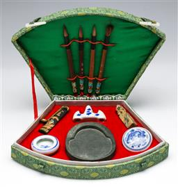 Sale 9156 - Lot 266 - Chinese Calligraphy Set in case including ink, ink stone, brushes, brush rest and seal