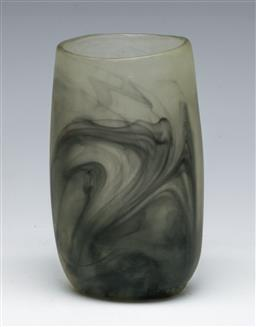Sale 9153 - Lot 61 - A dinosaur design cup (h:12cm) together with an art glass green example (h:14cm)