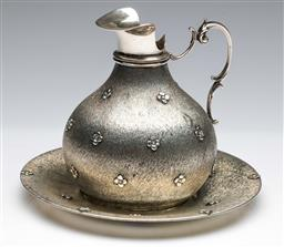 Sale 9175 - Lot 47 - A Modern Italian Silver (.800) Jug (H:13cm) And Dish (Dia 18cm) (combined wt 379grams)