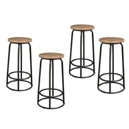 Sale 9216S - Lot 85 - A set of four metal bar stools with reclaimed elm tops, Height 68cm x Width 39cm x Depth 39cm