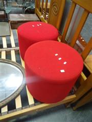 Sale 7969A - Lot 1051 - Set of 4 Red Ottomans