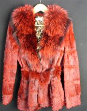 Sale 7982B - Lot 72 - Giorgio, Italia dyed red fur collared and belted jacket with Cheetah print lining (M)