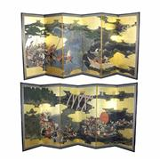 Sale 8304A - Lot 63 - Large Japanese Pair of Screens in Custom Timber Cases (height & length of screen incl. frame - 166 x 370cm)