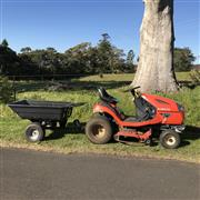 Sale 8380A - Lot 2C - A Kubota T1880 ride on mower, showing 2891 hrs with tub trailer, paperwork inc. intruction manual available