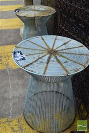 Sale 8532 - Lot 1243 - Pair of Metal Outdoor Side Tables
