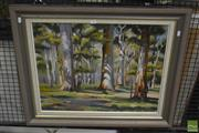 Sale 8537 - Lot 2164 - Robert Wilmot, Into the Woods, 1993, oil on canvas on board, frame size: 6635 x 77cm, signed lower right