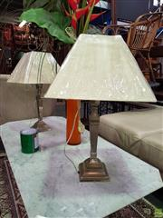 Sale 8566 - Lot 1376 - Pair of UK Made Silver & Brass Table Lamps (5545)