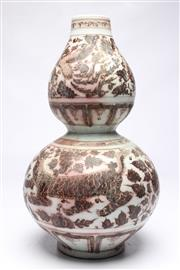 Sale 8701 - Lot 365 - Large Gourd Shaped Red And White Vase (H:46cm)