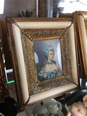Sale 8730B - Lot 39 - Ornate Metal & Ivory Framed Handpainted Miniature depicting a Lady L:17cm