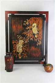 Sale 8793 - Lot 3 - Pokerwork Fire Screen decorated with Koala & Kookaburra (H: 80cm, W: 60cm); together with Small Pokerwork Vases also with Kookaburra...