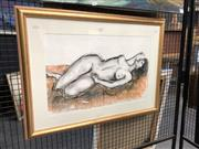 Sale 8784 - Lot 2023 - Maria Hucker - Client Nude, Mixed Media on Paper, Signed Lower Right