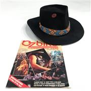 Sale 8926M - Lot 13 - Akubra Style Hat Probably as Worn By Rick Reed of Canned Heat together with Ozbike Down Under Magazine depicting the hat