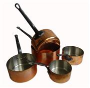 Sale 8912H - Lot 47 - A set of as new five graduated sized heavy thick wall copper French cooking pans – 2mm thick walls – 12 – 20 cm diameter.