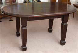 Sale 9103M - Lot 739 - A stained pine 1940s dining room table of oval form, Height 75cm x Width 140cm x Depth 85cm