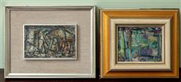 Sale 9120H - Lot 335 - Artist unknown, two small framed oils of landscapes circa 1970, larger 11cm x 18cm