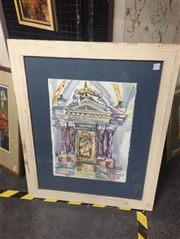Sale 9135 - Lot 2065 - a watercolour depicting a privilege altar, signed and dated lower right, frame: 85 x 69 cm
