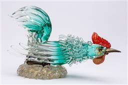 Sale 9170H - Lot 8 - A large handblown Venetian rooster figure with aventurine inclusions, lower beak chipped, Length 42cm