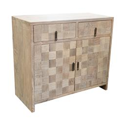 Sale 9216S - Lot 71 - A white washed reclaimed elm two door cabinet with two drawers, Height 88cm x Width 99cm x Depth 45cm