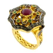 Sale 8060B - Lot 322 - A STERLING SILVER GILT CLUSTER RING; set with a cabochon ruby, emeralds and single cut diamonds. Size O 1/2.
