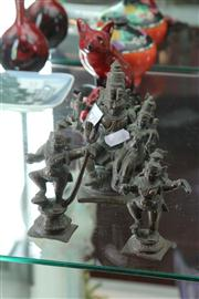 Sale 8195 - Lot 52 - Indian Bronze Figural Group with 2 Matching Examples