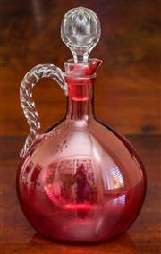 Sale 8284A - Lot 44 - Fine quality Victorian crystal and ruby glass decanter. C: 1890's. Ht: 24cm.