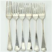Sale 8332 - Lot 36 - English Hallmarked Sterling Silver George III Set of Six Fruit Forks