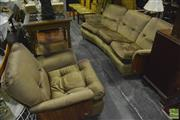 Sale 8350 - Lot 1028 - Good G-Plan Saddle Back Teak Three Piece Suite