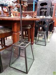 Sale 8580 - Lot 1087 - Pair of Glass and Metal Hanging Light Fittings