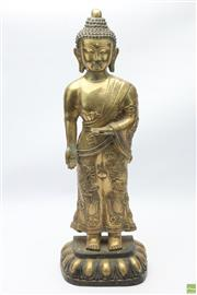 Sale 8648A - Lot 127 - Brass Figure of Guanyin ( H 58cm Weight 7kgs, Stamp to Base)