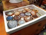 Sale 8648 - Lot 1076 - Tray Exotic Polished Geode Slices
