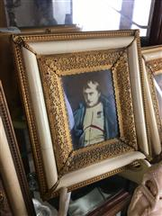 Sale 8730B - Lot 40 - Ornate Metal & Ivory Framed Handpainted Miniature depicting a Gent L:17cm