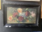 Sale 8898 - Lot 2004 - Artist Unknown - Still Life, Roses, oil on board, 46 x 28cm signed lower right