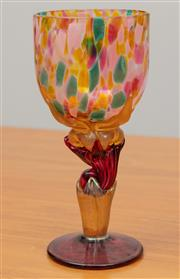 Sale 9044H - Lot 81 - A Colin Heaney Goblet in green yellow and pink spotted design, Height approx 16cm