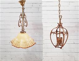 Sale 9102 - Lot 1206 - Art deco hanging light fitting together with a brass example